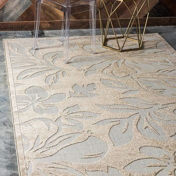 7156 Beige Floral Carved Outdoor-Indoor Area Rugs