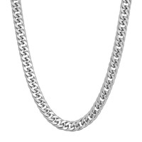 Men's Sterling Silver Curb Chain Necklace (Grey)
