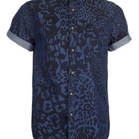 Indigo Patchwork Leopard Print Short Sleeve Denim Shirt - TOPMAN USA