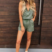 Joy Ride Romper: Olive