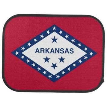 Patriotic set of car mats with Flag of Arkansas
