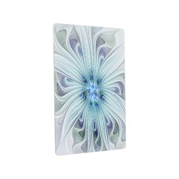 Floral Beauty Abstract Modern Blue Pastel Flower Metal Photo Print