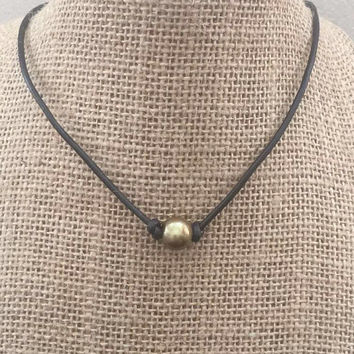 Single Pearl Bronze Gold Colored Freshwater Pearl Choker Necklace