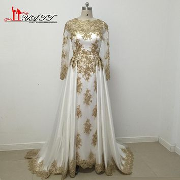 New Arrival 2017 Amazing White and Gold Evening Prom Dresses Lace Appliques Beads Pearls Muslim Charming Vintage Arabic LIYATT