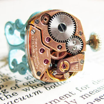 Steampunk ring Vintage Omega 17 jeweled watch by InsomniaStudios