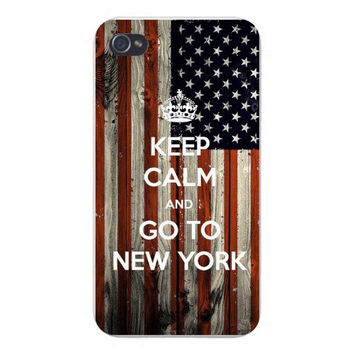 Apple Iphone Custom Case 4 4s Snap on - 'Keep Calm and Go To New York' w/ American USA National Flag Wood Grain Background