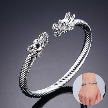 Naga Double Head Dragon Terminal Bracelet for Men Stainless Steel Twisted Cable Cuff Bangle Adjustable Elastic Male Jewelry