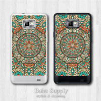 Samsung Galaxy S2 case - Floral Eastern Mandala - round lace floral pattern galaxy S2 cover, Black / Clear hard SII case