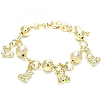 Gold Layered 03.179.0055.07 Charm Bracelet, Teddy Bear Design, Matte Finish, Golden Tone