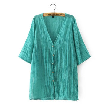 Summer Women's Fashion V-neck Short Sleeve Cotton Tops Blouse Jacket [6047795137]