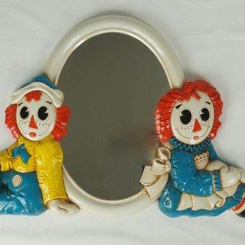 1977 Syroco Raggedy Ann & Andy Wall Plaques and Mirror, Bobbs-Merrill Co.