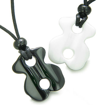 Lucky Infinity Couple Ying Yang White Snowflake Quartz and Black Agate Magic Pendant Necklaces