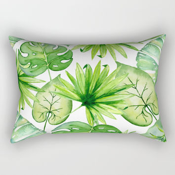 tropical leaves Rectangular Pillow by sylviacookphotography