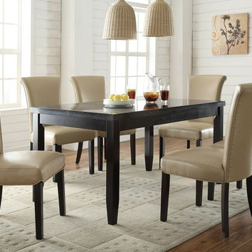 7 pc newbridge collection espresso finish wood faux marble top dining table set with taupe color leather like vinyl upholstered chairs