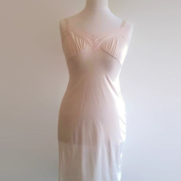 6ef6699b137 Peach vintage slip - 1970s semi sheer nude chemise - short be.