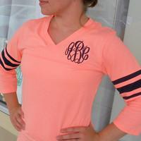 Monogrammed 3/4 length sleeve football jersey Font shown MASTER CIRCLE