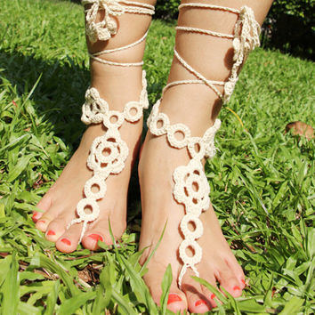Handmade Crochet Barefoot Sandals ,Nude shoes, Foot jewelry, Wedding, Victorian Lace, Sexy, Yoga, Anklet , Bellydance,Steampunk, Summer Beach Pool,Ethnic,Gift-22