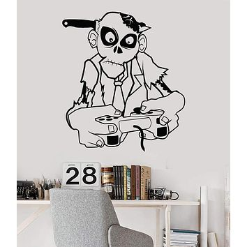Vinyl Wall Decal Zombie Game Zone Gamer Teen Room Video Games Joystick Stickers Unique Gift (786ig)