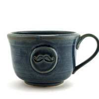 Soup Mug with a Mustache:  Large Blue Mug for Soup, Chili or Cafe au Lait by MiriHardyPottery