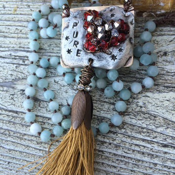 Pure Heart Artisan hand knotted long necklace with Chinese amazonite beads, swarovski crystal soldered pendant, mustard linen tassel