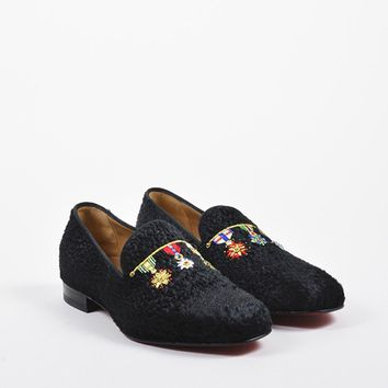 KUYOU Men  s Christian Louboutin Black Pony Hair  Dictateur Flat  Shoes