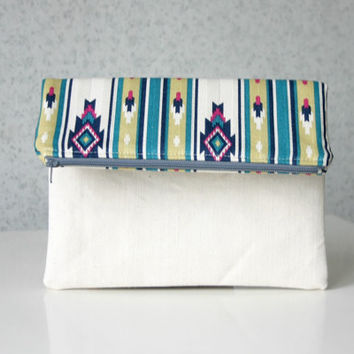 Tribal Foldover Aztec print Clutch Purse Canvas Native Geometry Nordic stripe