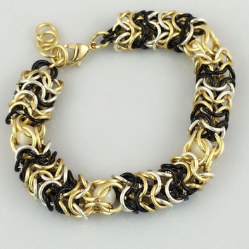 Black, Silver and Gold Chainmaille Bracelet with Mother of Pearl -- Product B004