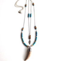 Horn Pendant Necklace with Semi-Precious Beads, Sterling Arrowhead Charm, Genuine Turquoise and Tiger Eye Boho Chic Jewelry