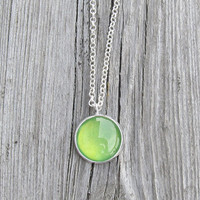 Lime green necklace 16 mm glass cabochon on shiny silver necklace gift ideas for her