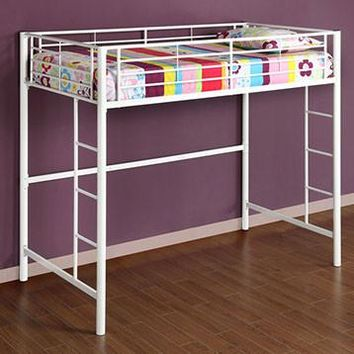 Classy Sunrise Metal Twin/Loft Bunk Bed-White by Walker Edison