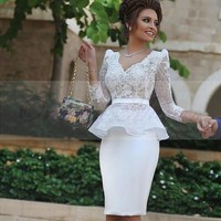 2017 Fashion White Lace Cocktail Dresses with Long Sleeves Sexy V Neck Appliques Short Formal Sheath Wedding Party Dress