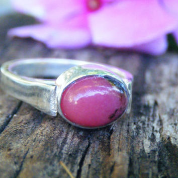 Pink rhodonite ring, natural Australian mineral, recycled silver, hot pink ring, solid sterling silver ring, size 5 6 7 8 9