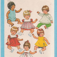 Vintage 1980s pattern for clothes for 15-17 inch baby doll romper, dress, top, pinafore, pants, bloomers Simplicity 9508 UNCUT