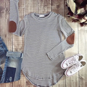 Navy Striped Elbow Patch Tunic