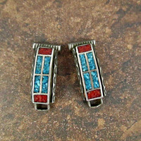 Vintage Native American Southwest Navajo Style Watch Tips Sterling Silver with Turquoise and Coral Chip Inlay Very Good Cond with Oxidation