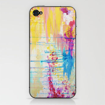 BRIGHTER DAYS - Beautiful Soft Pastel Colours Painting Rain Cloud Sunny Sky Abstract Nature Acrylic iPhone & iPod Skin by EbiEmporium | Society6