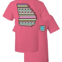 Southern Couture Georgia Aztec State Pattern Faux Pocket Girlie Bright T Shirt