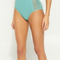 Green Mesh High Waisted Bikini Bottoms