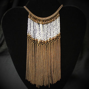Vintage Tribal Beaded Bib Statement Necklace in Brass