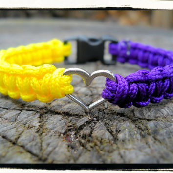 Purple Yellow HEART Bracelet