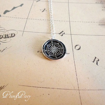 Compass Rose Wax Seal Necklace Antiqued - Compass jewelry