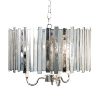 Worlds Away Faceted Antique Mirror Chandelier Pendant