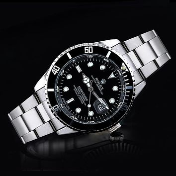 Rolex tide brand fashion men and women fashion watches F-SBHY-WSL Silver + Black Case + Black Dial