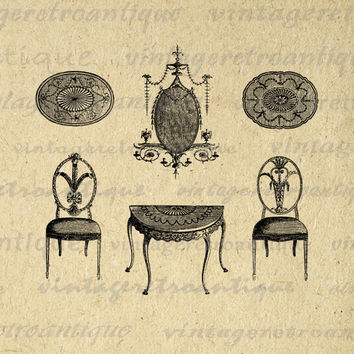 Antique Furniture Printable Digital Image Chair Table Illustration Graphic Download Artwork Vintage Clip Art HQ 300dpi No.1573