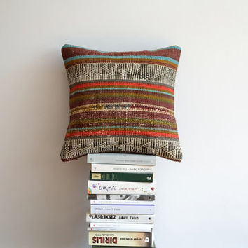 Kilim Pillow Cover - 16x16 Pillow Cover - Vintage Striped Turkish Pillow - Hand Embroidered Pillow - Bohemian Chic Home Decoration