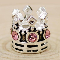 1PCS Crystal Beads Charms With Imperial Crown European Charms Beads Fit Women Diy Pandora Bracelets & Bangles H711 Free Shipping