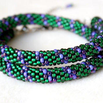 Green Purple beaded crochet necklace, rope, silver, emerald, lavender, gift idea, one of a kind, seed bead jewelry