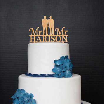 Gay Wedding Toppers Mr and Mr Cake Topper Wood Personalized Wedding Cake Topper Custom Wooden Wedding Cake Topper