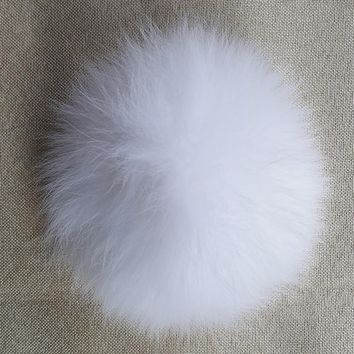 Pure White 100% Natural Fox Fur Fluffy Pompon Real Fox Fur Big Ball Pom Pom Accessories for Caps Hats Skullies 13cm to 15cm