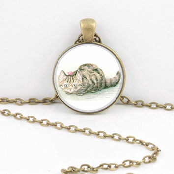 ON SALE Beatrix Potter Kitten Miss Moppet Children's Illustration Book Story Pendant Necklace or Key Ring